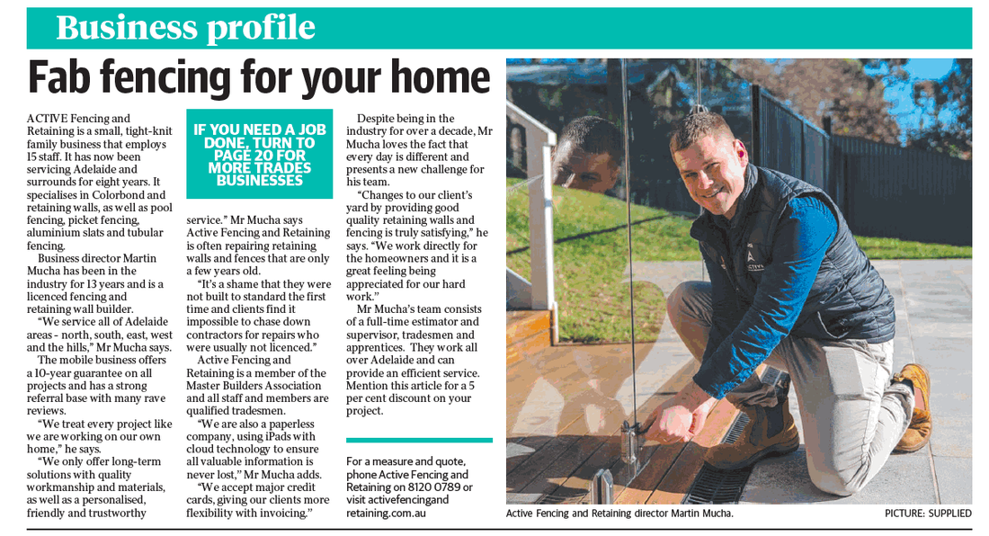 Fencing and Retaining Walls Adelaide - 2020 Messenger Newspaper